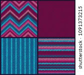 seamless knitted pattern. set... | Shutterstock .eps vector #1091373215