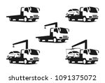 set of wrecker truck  black... | Shutterstock .eps vector #1091375072