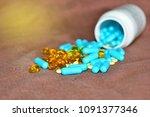 multicolored medicines... | Shutterstock . vector #1091377346
