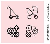 outline wheels icon set such as ... | Shutterstock .eps vector #1091378312