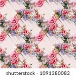 flowers rose fashion fabric... | Shutterstock . vector #1091380082