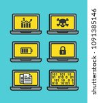 icon set of laptop computers... | Shutterstock .eps vector #1091385146