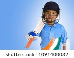 a boy in a cricketer's outfit | Shutterstock . vector #1091400032