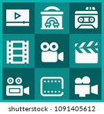 filled movie icon set such as... | Shutterstock .eps vector #1091405612