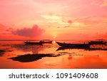 bright dawn on the shore of the ... | Shutterstock . vector #1091409608