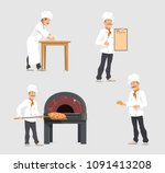 bakery shop and baker at... | Shutterstock .eps vector #1091413208
