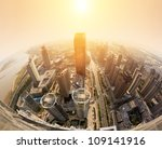 Overhead Sunset Over City - Fine Art prints