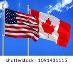 usa flag canada flag silk... | Shutterstock . vector #1091431115