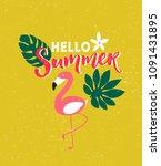 hello summer poster with brush... | Shutterstock .eps vector #1091431895