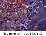 electronic circuit board close... | Shutterstock . vector #1091433572