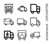 lorry related set of 9 icons...   Shutterstock .eps vector #1091434706