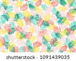 seamless pattern with palm... | Shutterstock .eps vector #1091439035