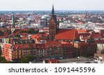 Stock photo beautiful super wide angle summer aerial view of hannover germany lower saxony seen from 1091445596