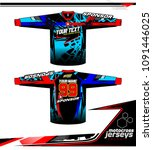 long sleeve motocross jerseys t ... | Shutterstock .eps vector #1091446025