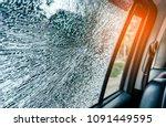 broken glass window car damaged ... | Shutterstock . vector #1091449595