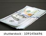 dollars money cash on black... | Shutterstock . vector #1091456696