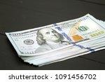 dollars money cash on black... | Shutterstock . vector #1091456702