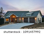custom home exterior with front ... | Shutterstock . vector #1091457992
