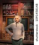 Small photo of Istanbul, Turkey, 14 May 2018: Albert Einstein wax figure at Madame Tussauds museum in Istanbul. Albert Einstein was a physicist who developed the general theory of relativity.