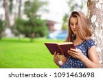 young attractive woman studying ... | Shutterstock . vector #1091463698