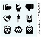 gestures related set of 9 icons ... | Shutterstock .eps vector #1091466536