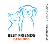 vector icon cat and dog. | Shutterstock .eps vector #1091472542