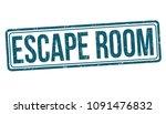 escape room grunge rubber stamp ... | Shutterstock .eps vector #1091476832