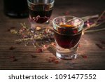 shots of alcoholic drink on... | Shutterstock . vector #1091477552