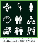 set of 9 people filled icons... | Shutterstock .eps vector #1091478506
