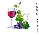 a glass of red wine and a bunch ... | Shutterstock .eps vector #1091479028