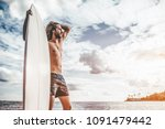 young handsome man with long... | Shutterstock . vector #1091479442