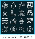 set of 16 water outline icons...   Shutterstock .eps vector #1091480516