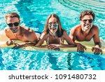 happy attractive young friends...   Shutterstock . vector #1091480732