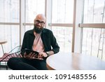 young hipster man blogger in... | Shutterstock . vector #1091485556