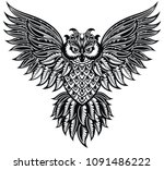 Stock vector owl tattoo poster print 1091486222