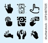 filled set of 9 hand icons such ...   Shutterstock .eps vector #1091487035