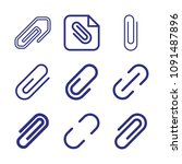 set of 9 clip outline icons... | Shutterstock .eps vector #1091487896