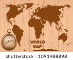 world map and golden compass on ... | Shutterstock .eps vector #1091488898
