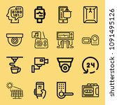 outline set of 16 technology... | Shutterstock .eps vector #1091495126