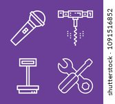 set of 4 tools outline icons... | Shutterstock .eps vector #1091516852