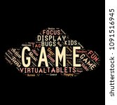 word cloud of the game as... | Shutterstock . vector #1091516945