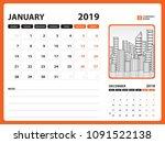 desk calendar for january 2019... | Shutterstock .eps vector #1091522138