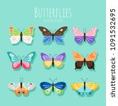 butterfly collection...   Shutterstock .eps vector #1091532695