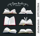 open books. new open book set... | Shutterstock .eps vector #1091532866