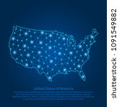 abstract map of the usa created ... | Shutterstock .eps vector #1091549882