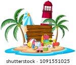 a summer element on island... | Shutterstock .eps vector #1091551025