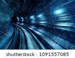 high speed with binary code... | Shutterstock . vector #1091557085