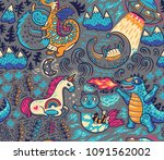 kids background with fantastic... | Shutterstock .eps vector #1091562002