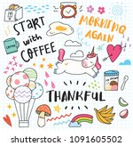 various cute doodle element | Shutterstock .eps vector #1091605502