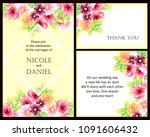 invitation with floral... | Shutterstock . vector #1091606432